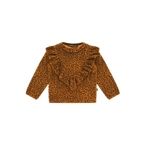 House of Jamie Front ruffled sweater golden brown leopard