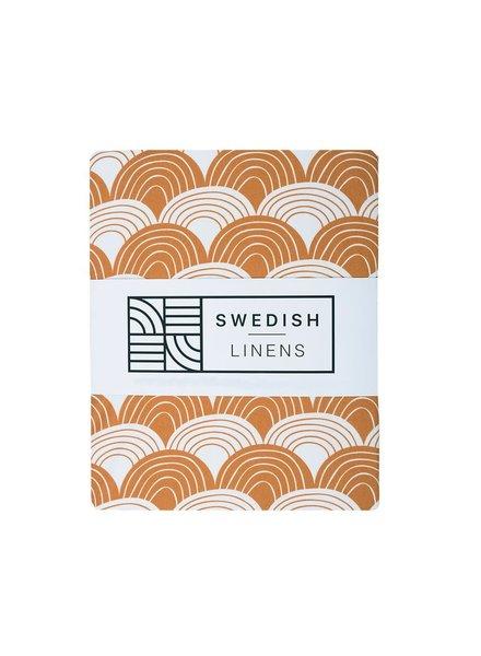 Swedish linens Cinnamon brown rainbow fitted sheet 40 x 80