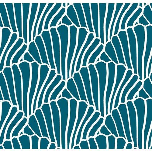 Swedish linens SEASHELLS Morrocan blue, 40x80cm, Fitted sheet