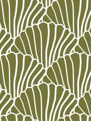 Swedish linens SEASHELLS Olive green, 40x80cm, Fitted sheet