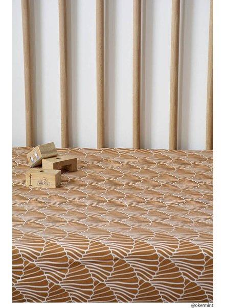 Swedish linens SEASHELLS Cinnamon, 40x80cm, Fitted sheet