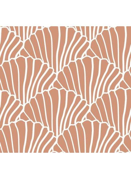 Swedish linens SEASHELLS Terracotta pink, 70x100cm, Baby flat sheet