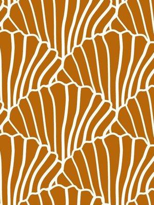 Swedish linens SEASHELLS Cinnamon brown 70x100cm, Flat baby sheet