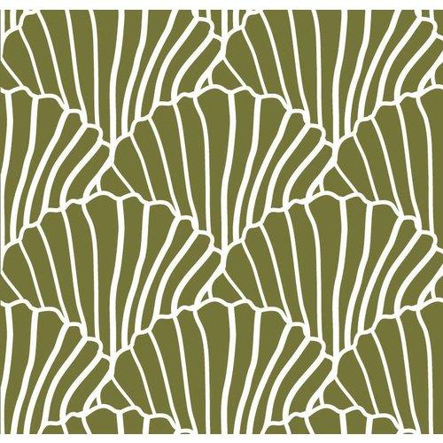 Swedish linens SEASHELLS Olive green, 70x100cm, Baby flat sheet