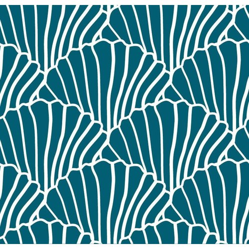 Swedish linens SEASHELLS Moroccan blue 70x100cm, Flat baby sheet