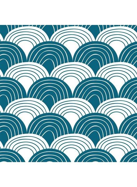 Swedish linens RAINBOWS Moroccan blue 70x100cm, Flat baby sheet