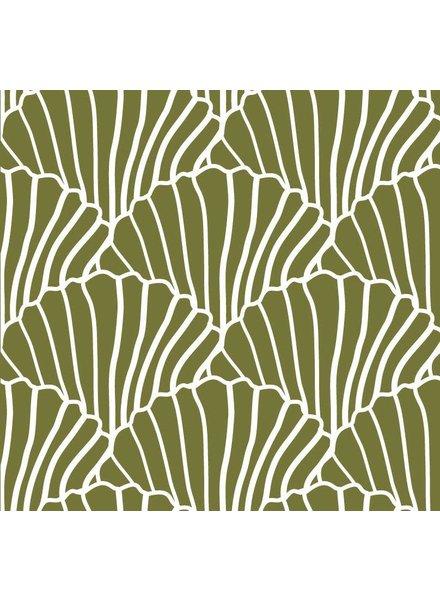 Swedish linens SEASHELLS Olive green, 60x120cm, Fitted sheet