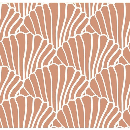 Swedish linens SEASHELLS Terracotta pink, 60x120cm, Fitted sheet