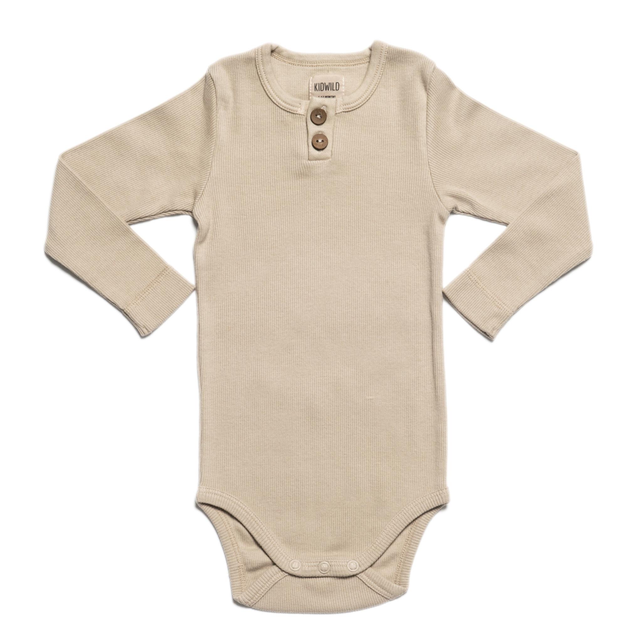 KidWild Vintage Henley Bodysuit LS-Oatmeal