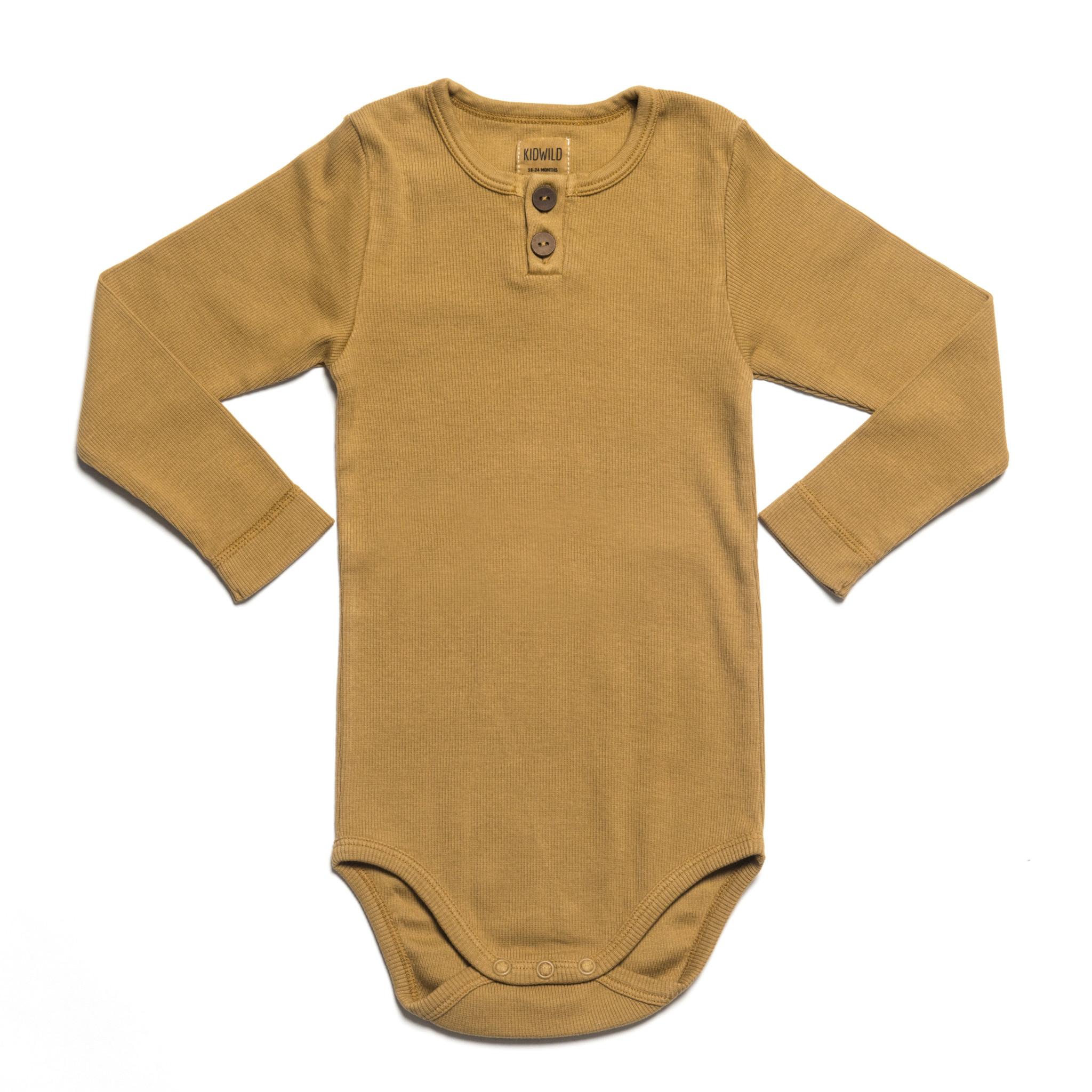 KidWild Vintage Henley Bodysuit LS-Ochre