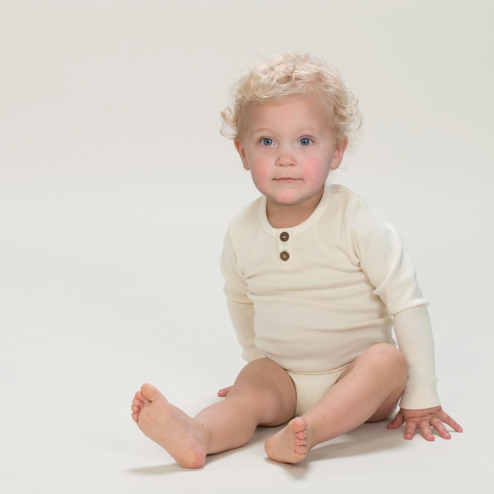 KidWild Vintage Henley Bodysuit LS-Vanilla