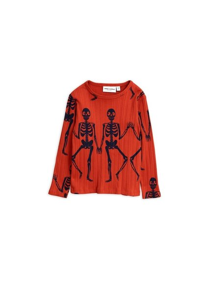 Mini rodini MR Skeleton aop ls tee red