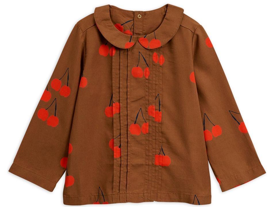 Mini rodini MR Cherry woven pleat blouse brown