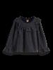 Scotch & Soda Lurex long sleeve top with ruffle bib 155856