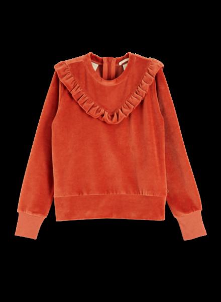 Scotch & Soda Velvet sweatshirt with ruffle yoke 151703-471