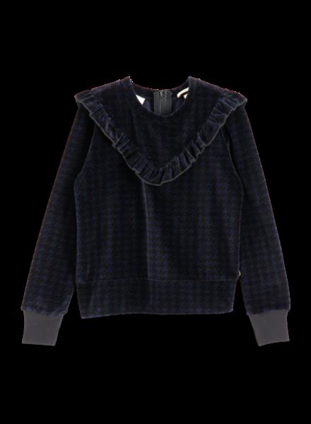 Scotch & Soda Velvet sweatshirt with ruffle yoke 151703-217