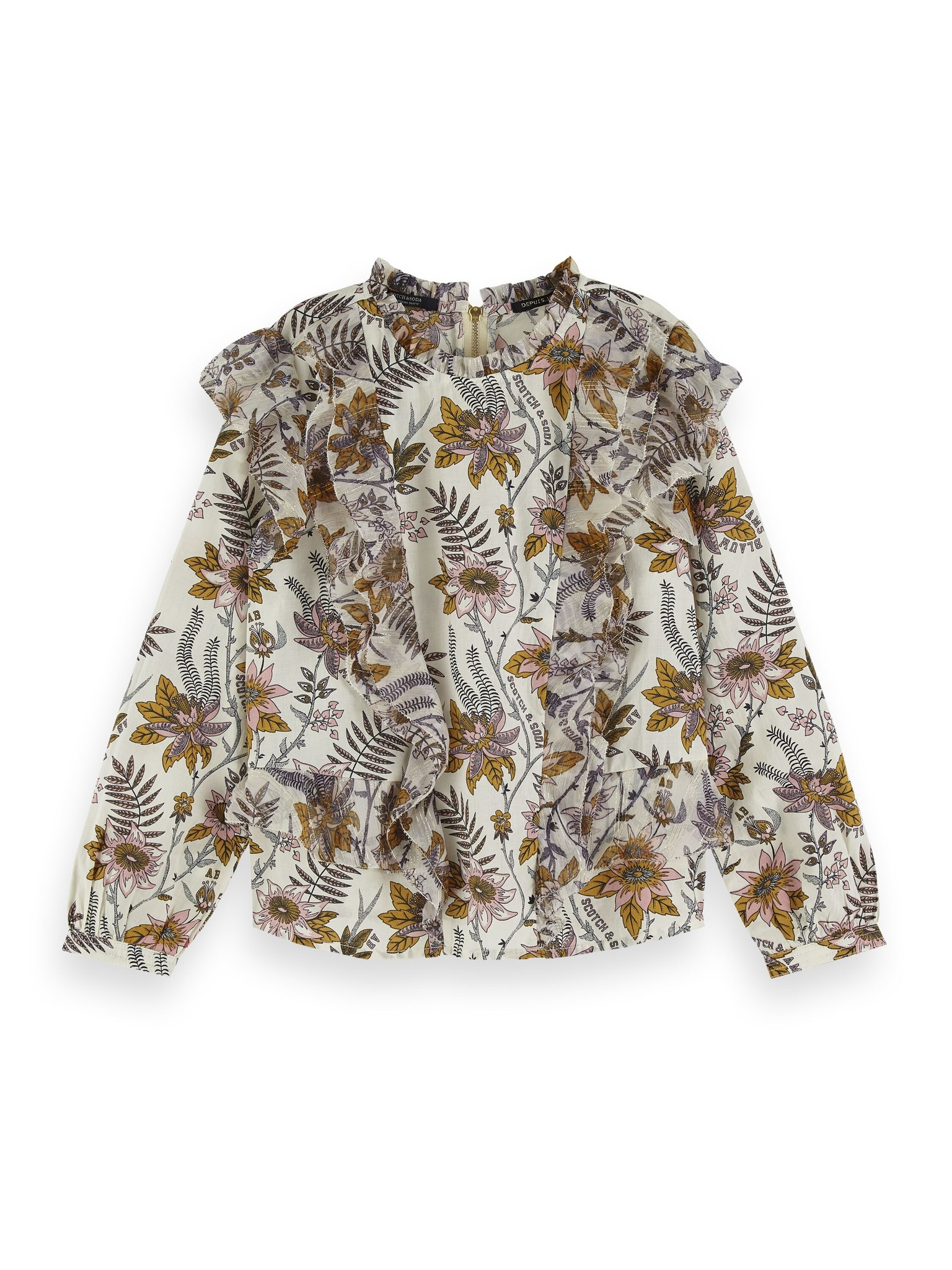 Scotch & Soda Floral allover printed top with ruffle details 154192 / 0217