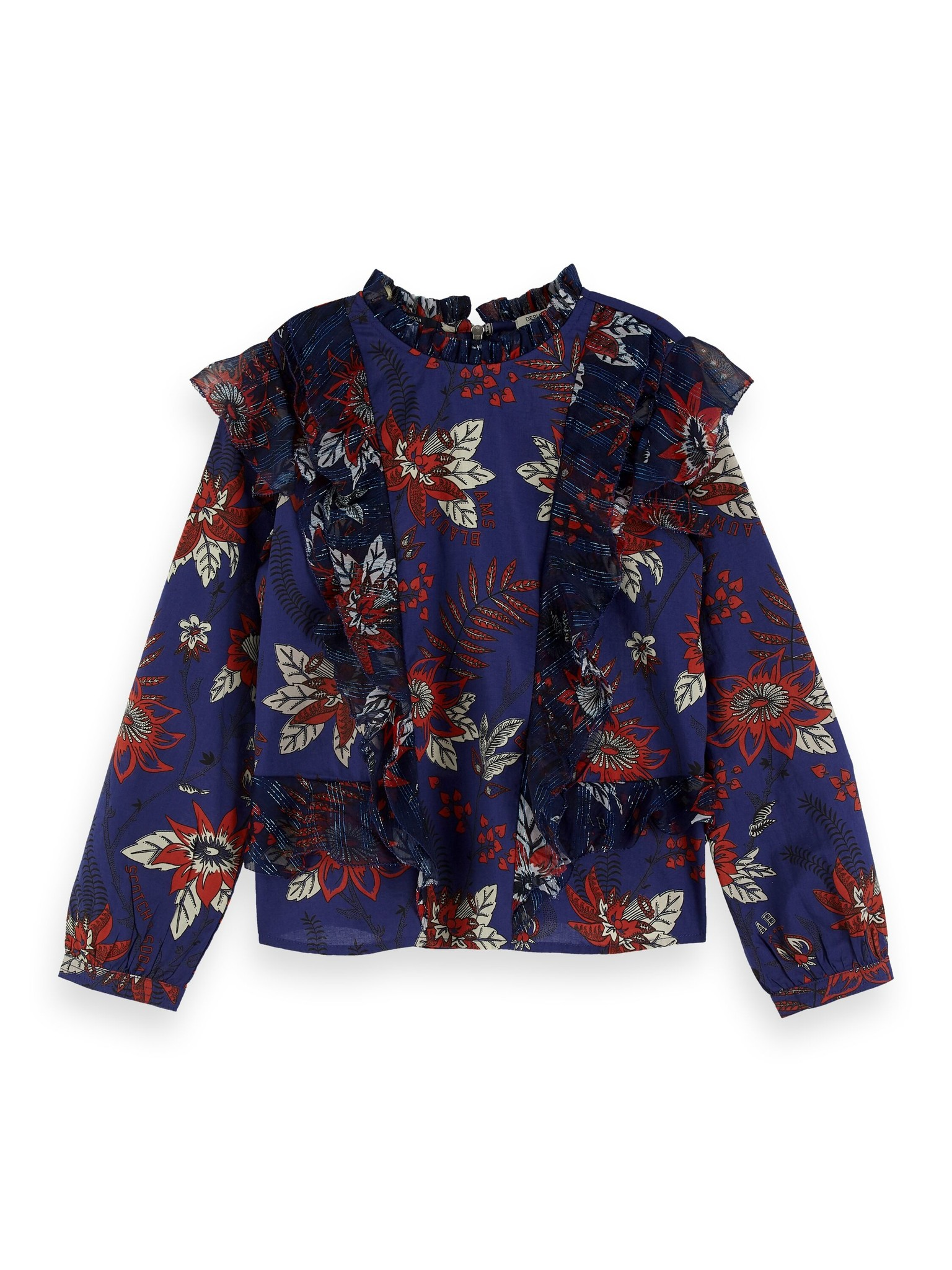 Scotch & Soda Floral allover printed top with ruffle details 154192 / 0218