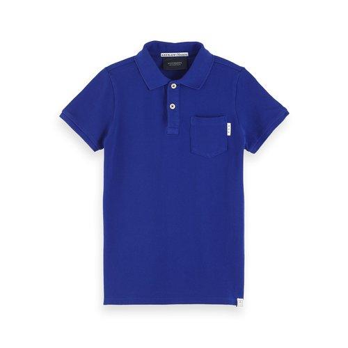 Scotch & Soda Ams blauw garment dyed polo 153959