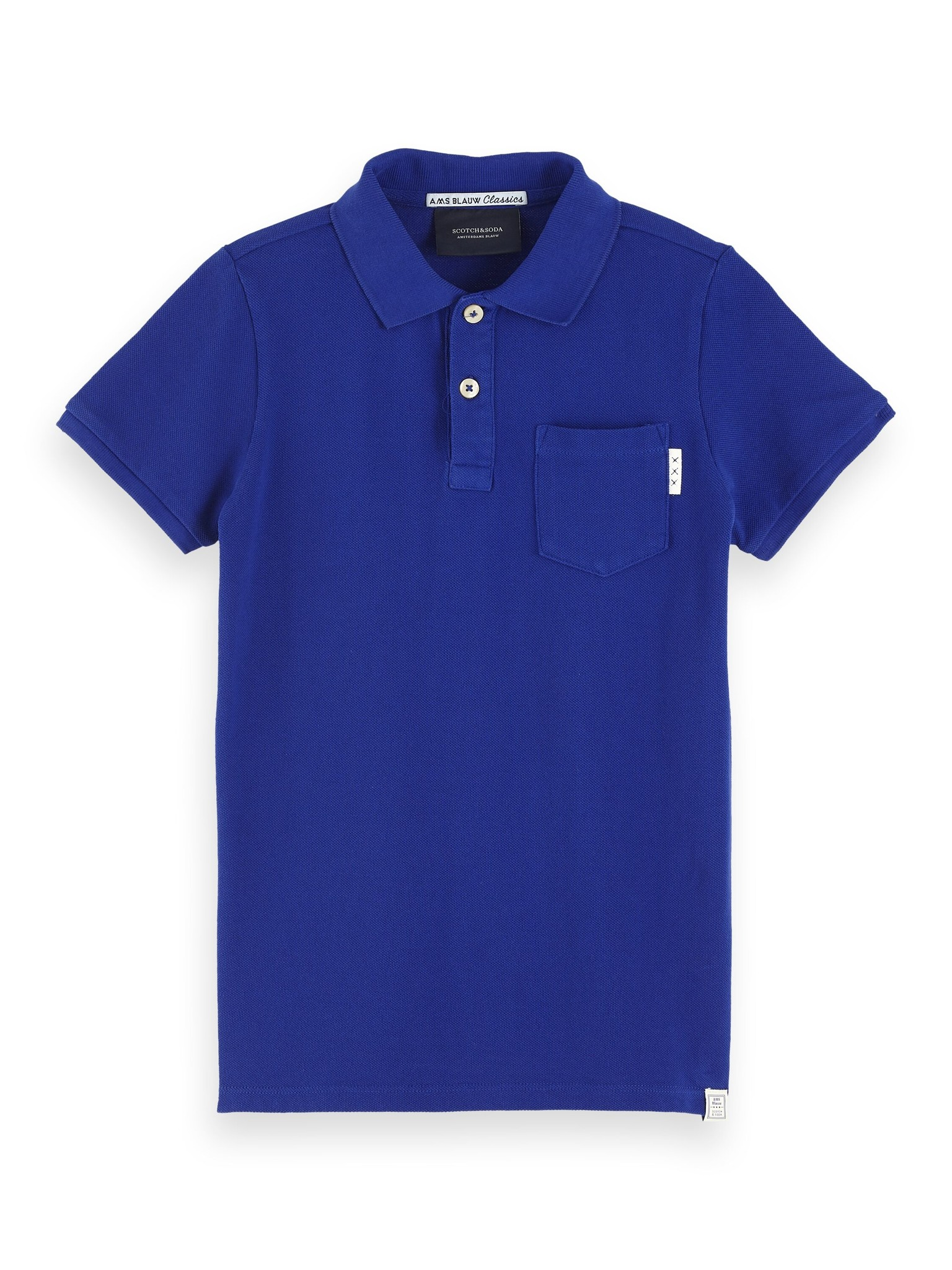 Scotch & Soda Ams blauw garment dyed polo 153959