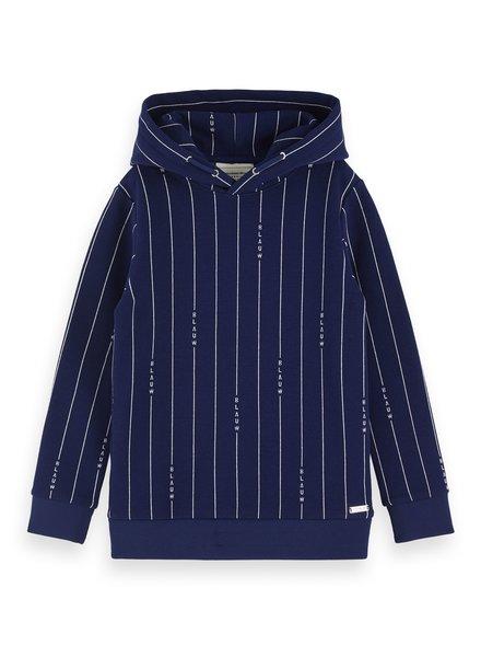 Scotch & Soda Blauw signature pinstrip hooded sweat 153924