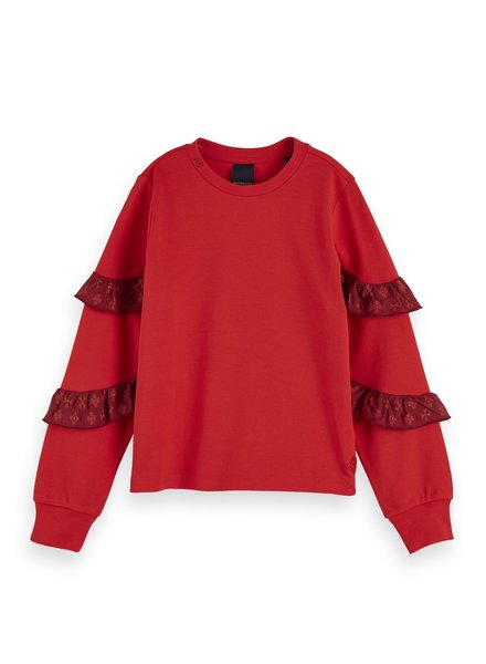 Scotch & Soda Long sleeve jersey top with small woven ruffles at sleeves 154494