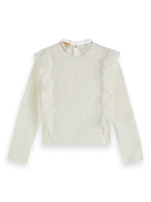 Scotch & Soda 155662 Longsleeve jersey and broderie anglaise mixed top