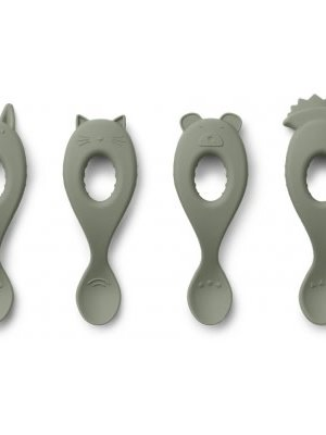 Liewood Liva silicone spoon faune green . 1 lepel