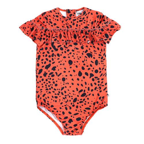 CarlijnQ Swimsuit - spotted animal + UPF50