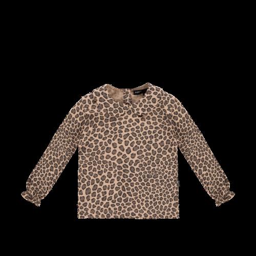 House of Jamie GIRLS COLLAR TEE (LONG SLEEVE) Caramel Leopard