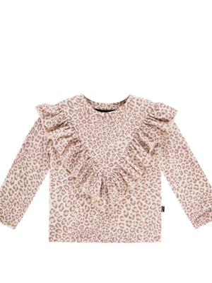 House of Jamie FRONT RUFFLED TEE Orchid Leopard