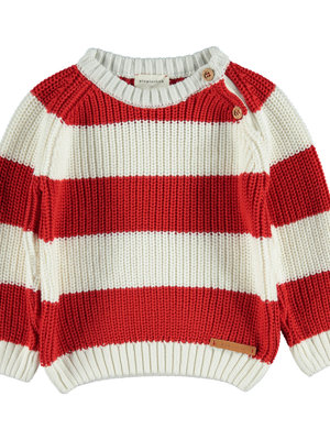 piupiuchick Knitted sweater red white