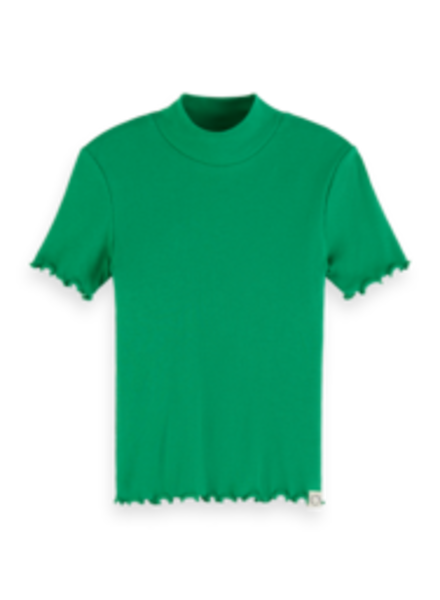 Scotch & Soda 155672 Fitted short sleeve tee with high neck groen