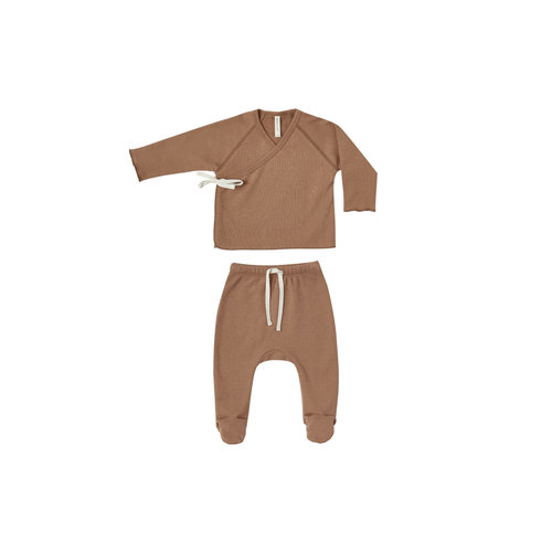Quincy Mae Kimono top + pant set rust brown