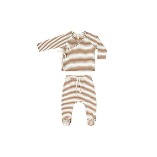 Quincy Mae Kimono top + pant set rust stripe