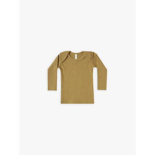 Quincy Mae Ribbed longsleeve tee ocre