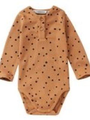 mingo Rib Bodysuit Dots Caramel