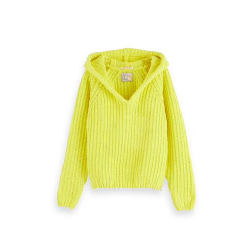 Scotch & Soda Knitted hoodie chenille neon geel 158146