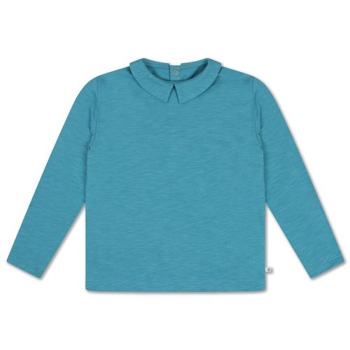Repose AMS Tee shirt with collar dusty storm blue