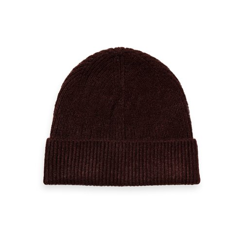 Scotch & Soda 158225 Knitted beanie in soft quality donkerbordeaux