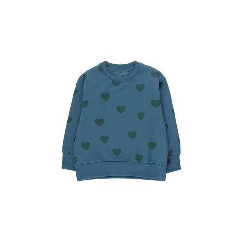 "Tiny cottons ""HEARTS"" SWEATSHIRT sea blue/dark green"