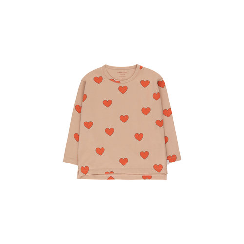 "Tiny cottons ""HEARTS"" TEE light nude/red"