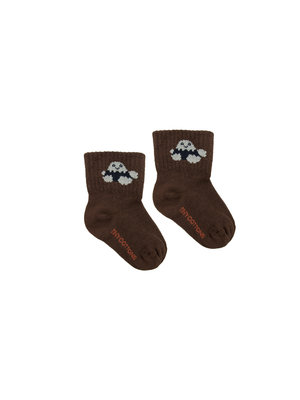 "Tiny cottons ""TINY FUJI"" QUARTER SOCKS ultra brown/cream"