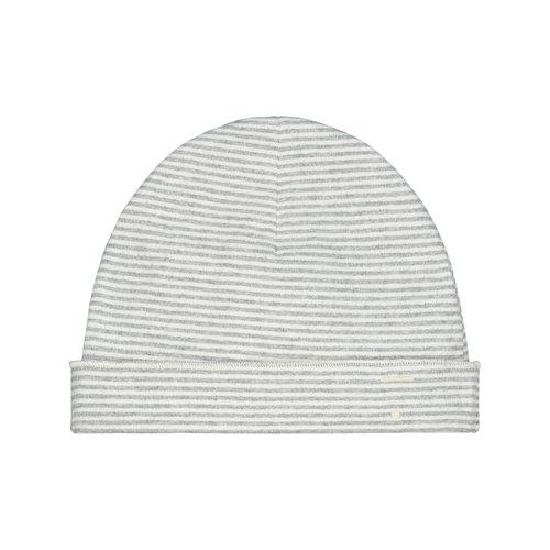 Gray label Baby Beanie gray melange creme stripe