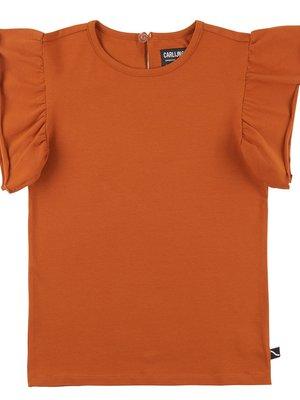 CarlijnQ Ruffled short sleeve top - rust