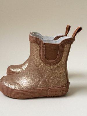Konges slojd Welly rubber boots glitter gold tan