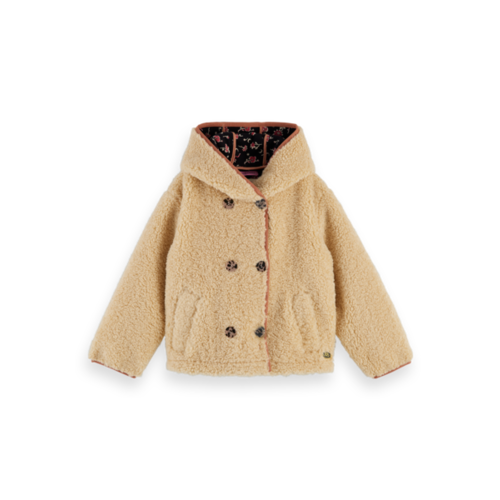 Scotch & Soda 157916 Short length bonded teddy jacket with hood