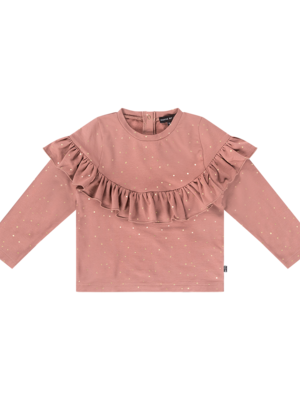House of Jamie VOLANT SWEATER  Dusty Mauve Golden Dots