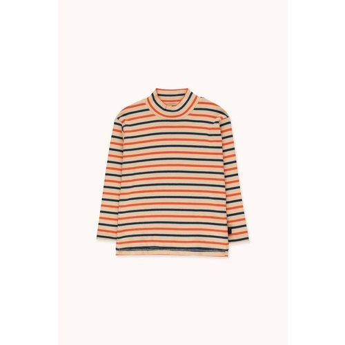 "Tiny cottons ""STRIPES"" MOCKNECK TEE *cappuccino/light navy/red*"