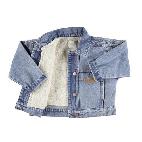 piupiuchick Denin bomber jacket | Washed denim w/ rainbow print
